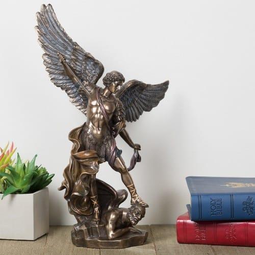 "St. Michael Bronze Finish Statue - 14"""