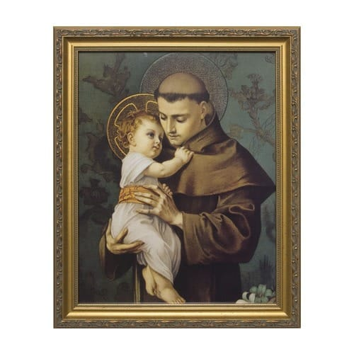 St. Anthony with Jesus w/ Gold Frame