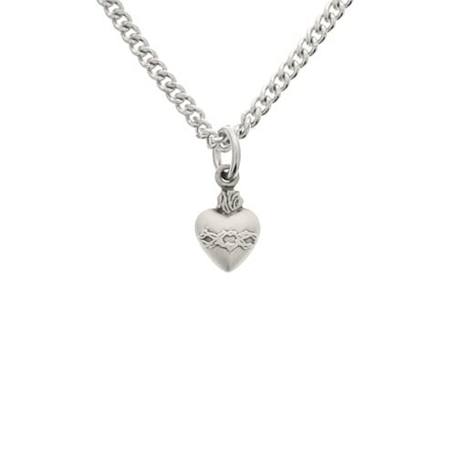 Petite Sacred Heart Sterling Pendant