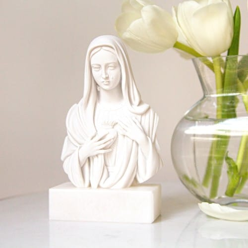 """Immaculate Heart Italian Alabaster Bust - 5.5"""""""