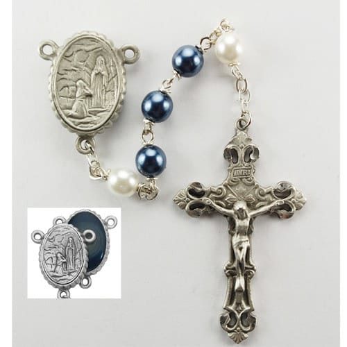 Blue and White Lourdes Rosary