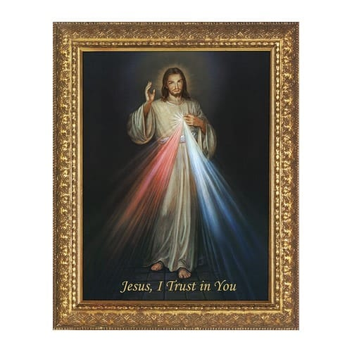 Divine Mercy On Canvas W Ornate Gold Frame The Catholic