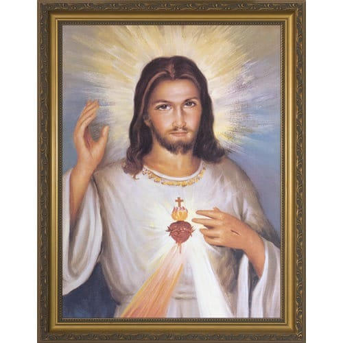 Divine Mercy W Sacred Heart In Gold Frame The Catholic