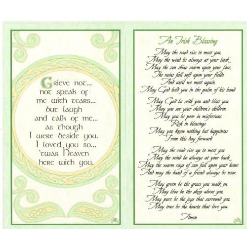Irish Celtic Series Personalized Prayer Cards Priced Per