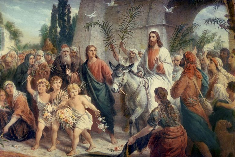 Jesus riding into Jerusalem on Palm Sunday