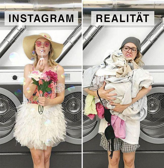 Artista tira fotos comparando o instagram com a vida real