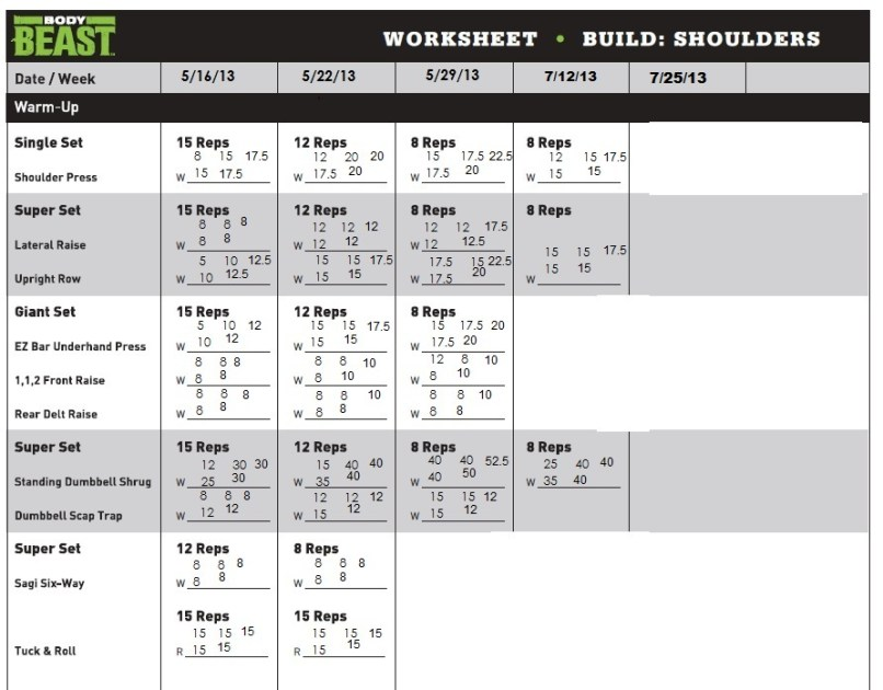 Body Beast Chest And Tris Workout Sheet Yourviewsite