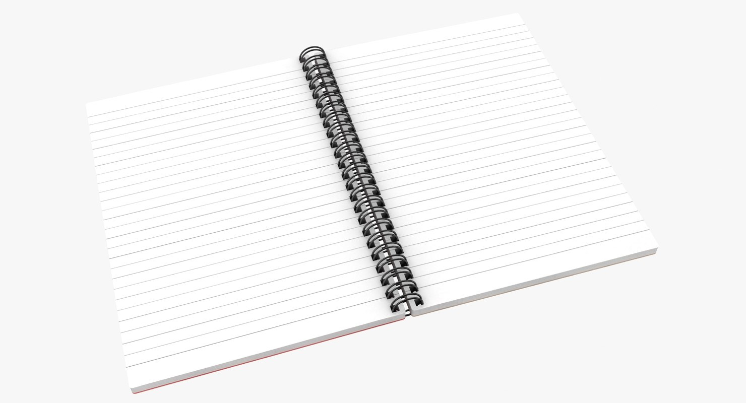 Realistic Open Notebook 2 3d Model