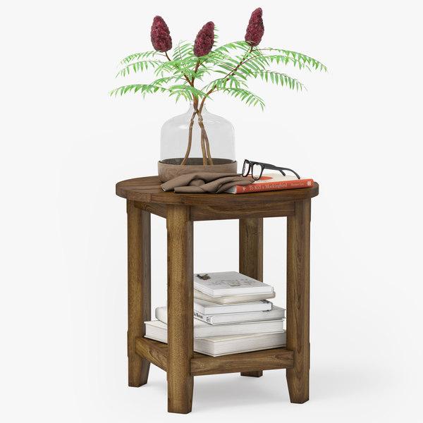 pottery barn benchwright table 3d model turbosquid 1232763