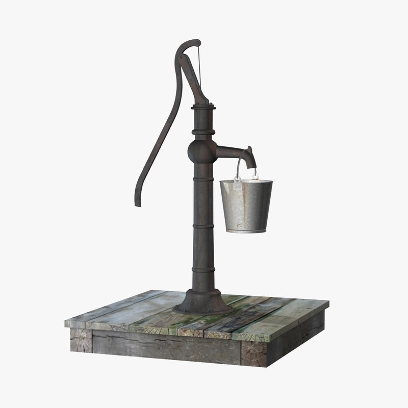 Old Water Pump Bucket 3d Model