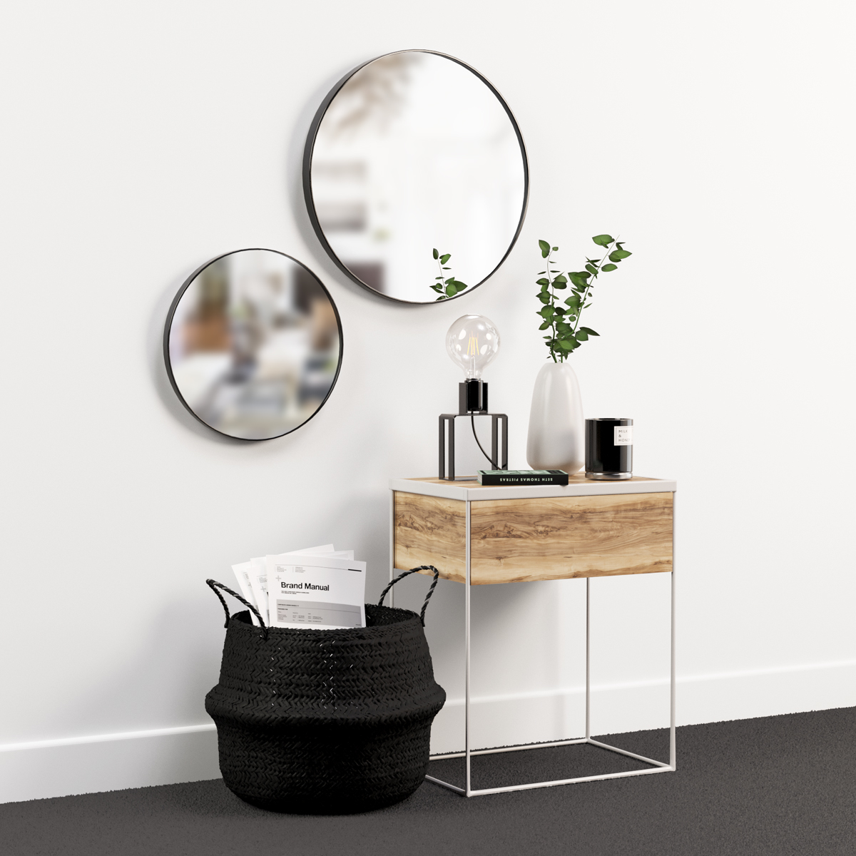 Decoration Set With Nightstand Lamp And Mirrors