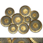 Three Hands Co Abstract Concentric Circle Texture Metal Disc Wall Decor