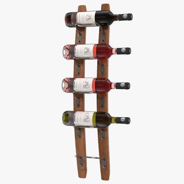 wooden mounted vertical rack 3d model turbosquid 1604359