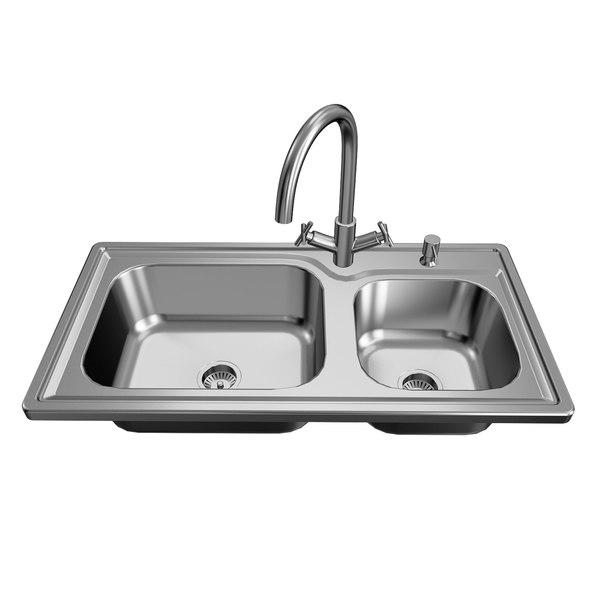 double kitchen sink 3d model turbosquid 1607971