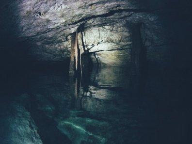 """In die Höhlen eingedrungene Wurzeln in einem """"Airhole"""""""