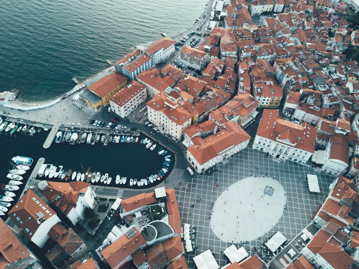 Altstadt Piran, Slowenien von oben