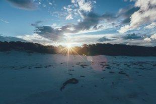 """Unser Strand"" im Sonnenuntergang"