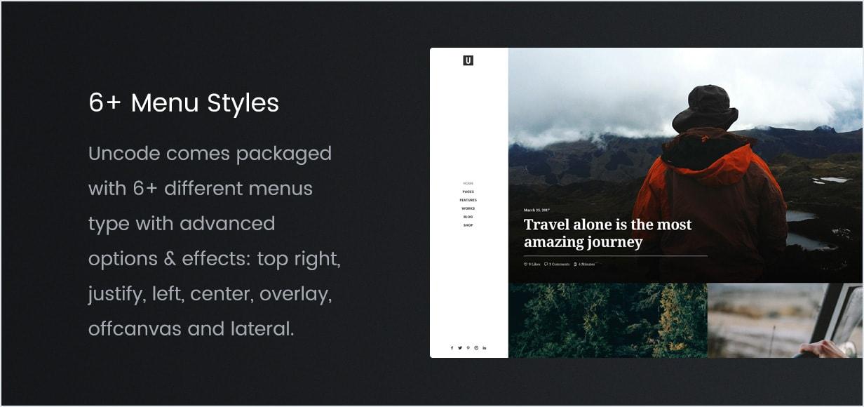 Diferentes estilos de menu