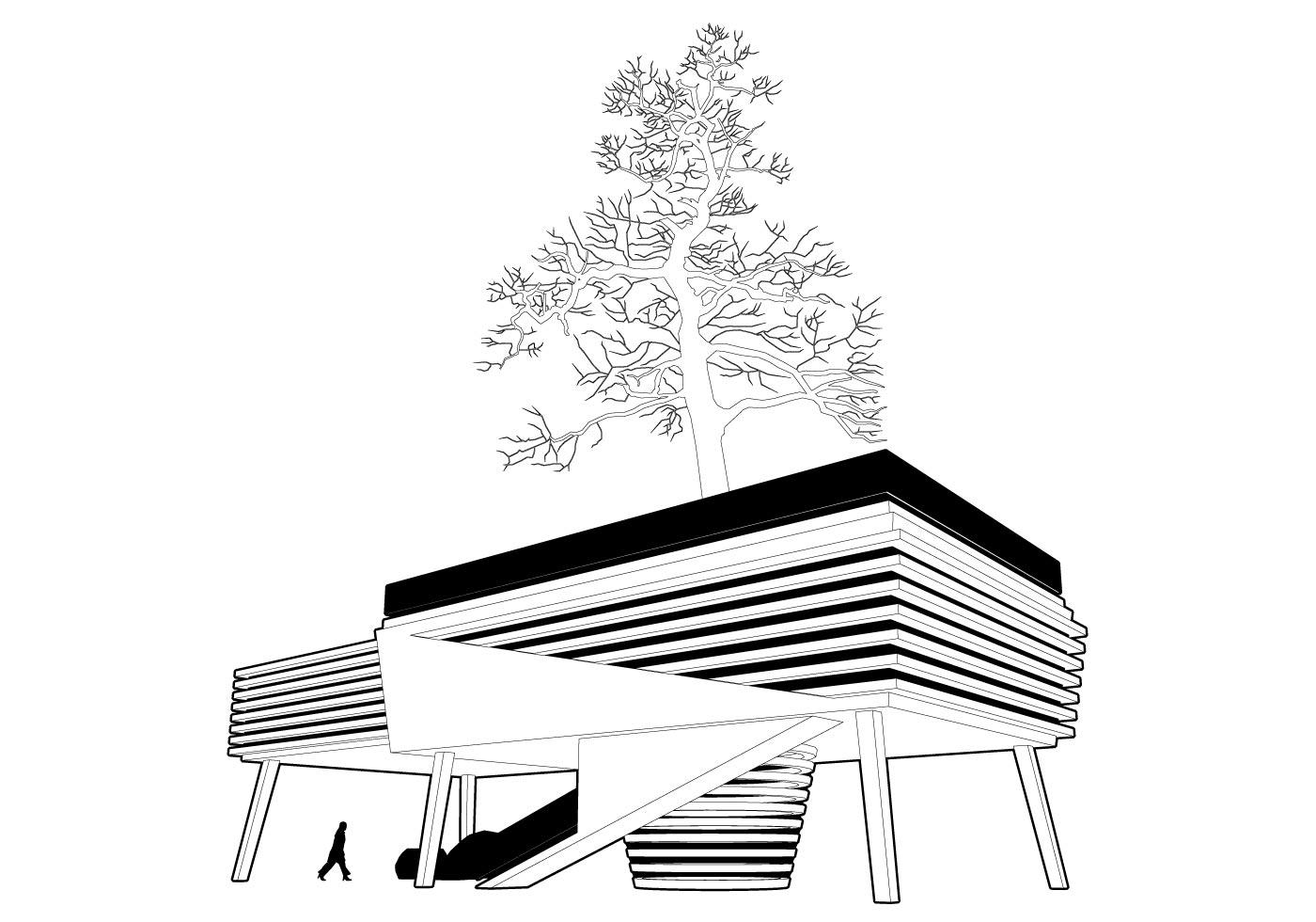 Freee House Around The Tree Vector