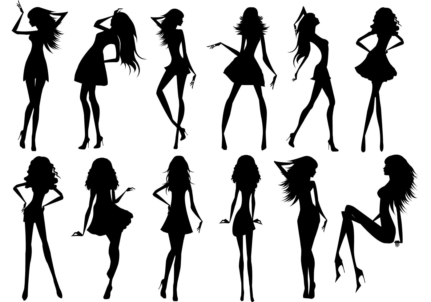 Silhouette Of Beautiful Girls