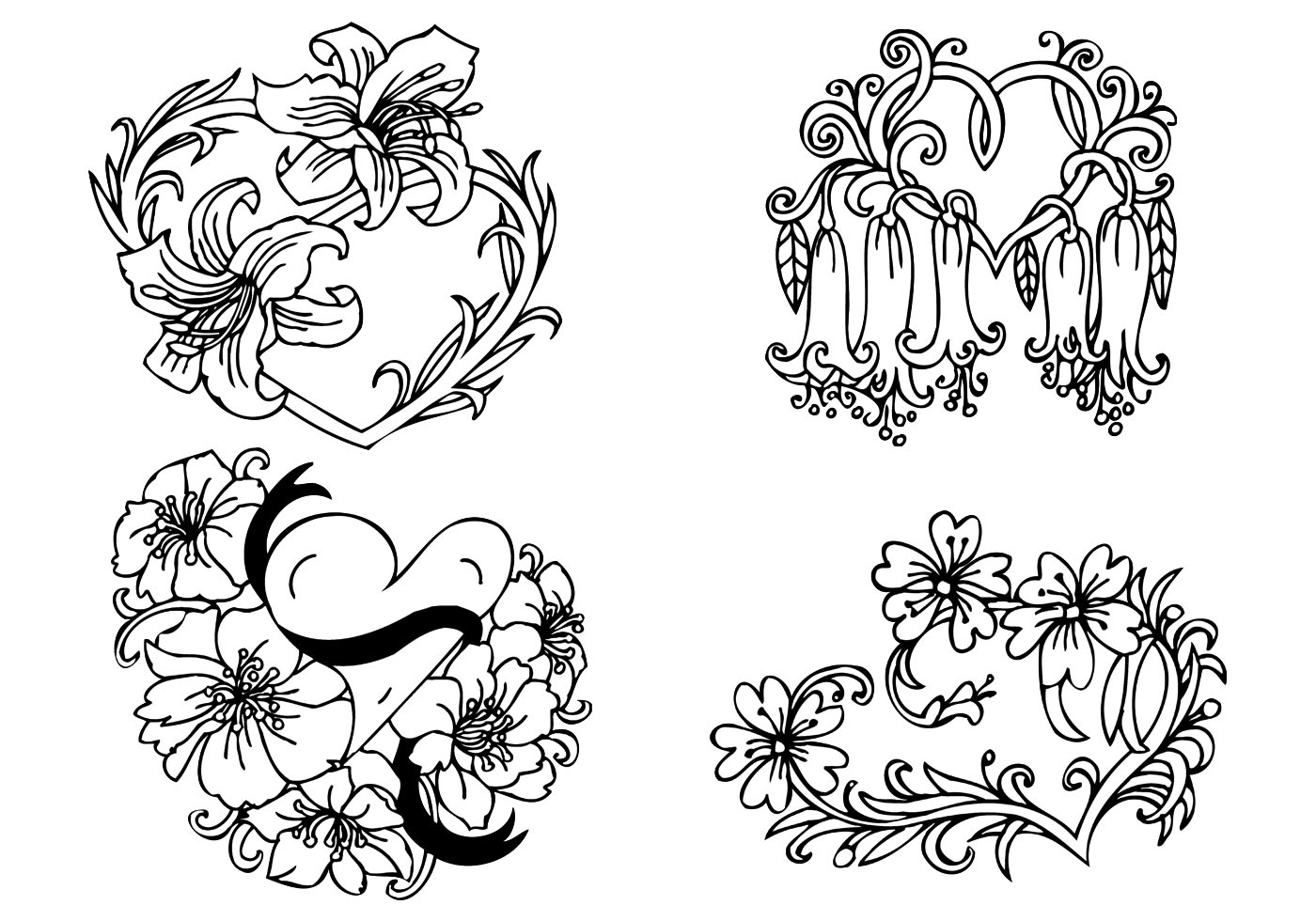 Floral Heart Vector Pack