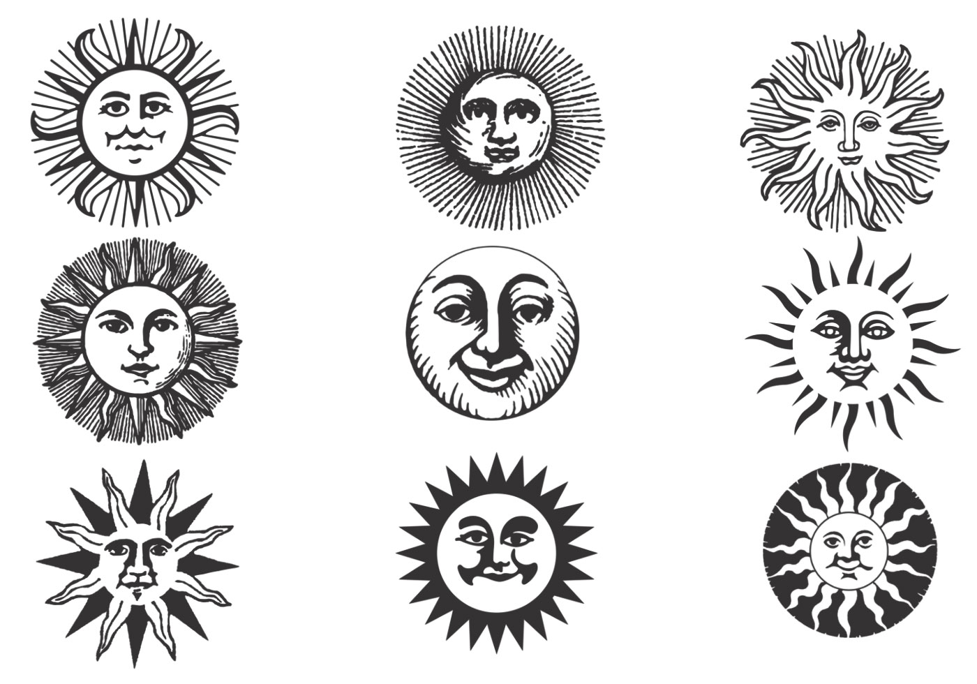 Hand Drawn Ancient Sun Vector Pack