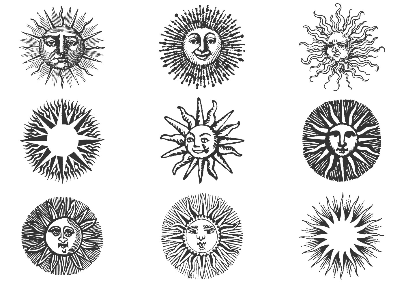 Hand Drawn Ancient Sun Vector Pack Ii