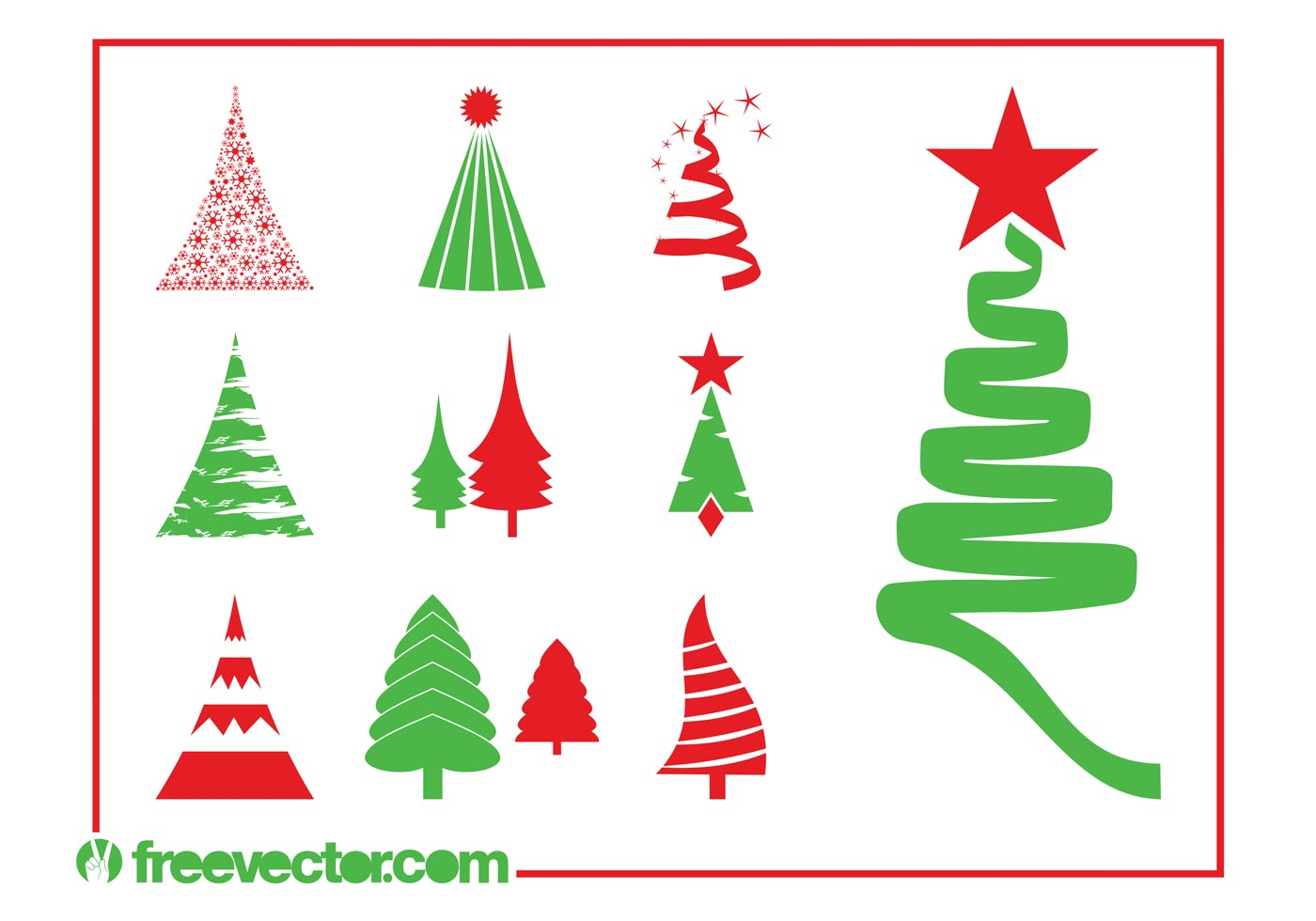 Christmas Trees Graphics Set Download Free Vector Art