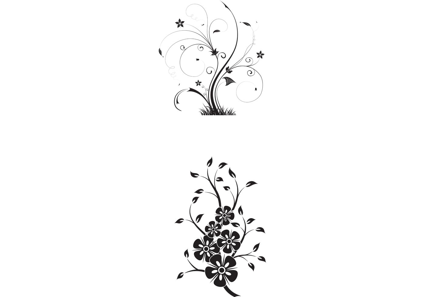 Free Floral Swirls Vectors