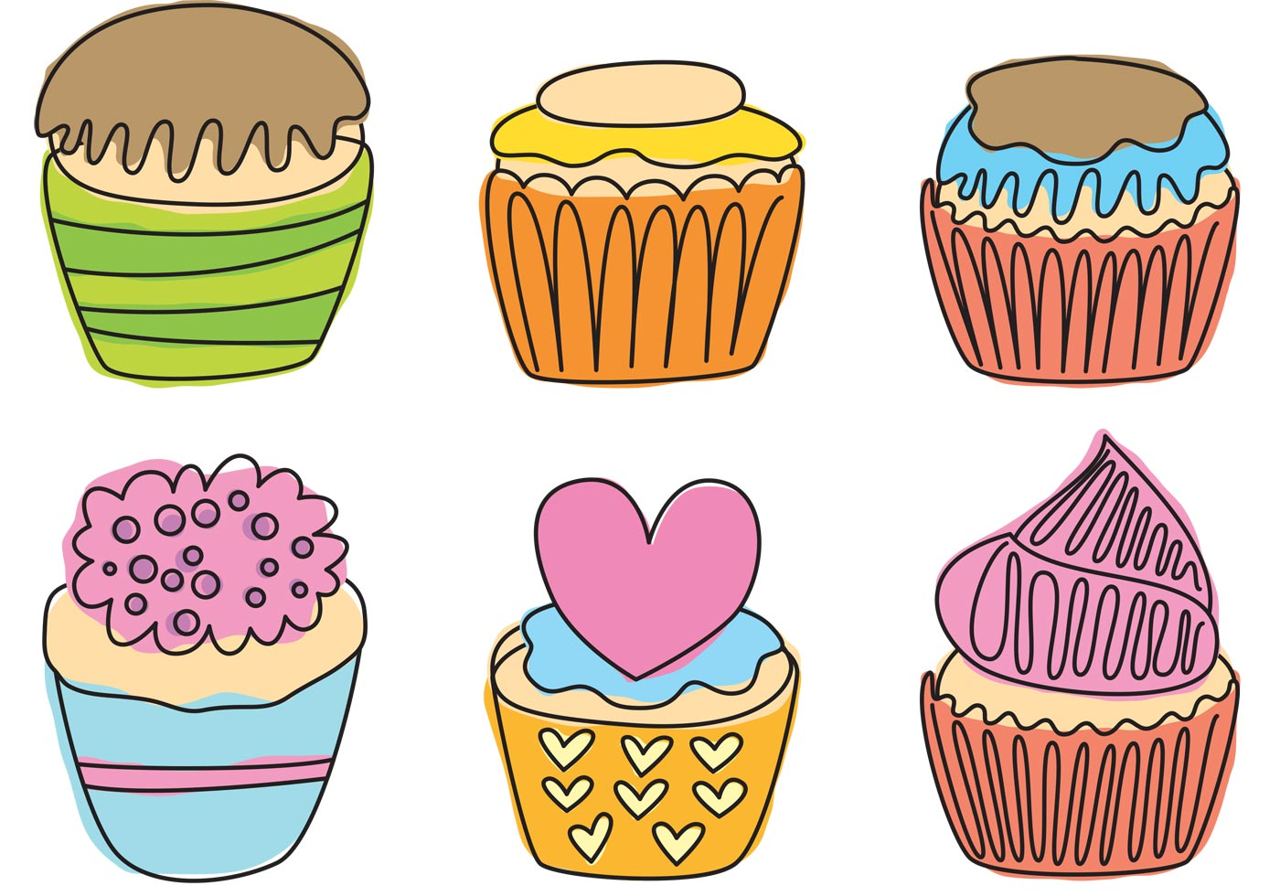 Hand Drawn Cupcake Vectors Download Free Vector Art