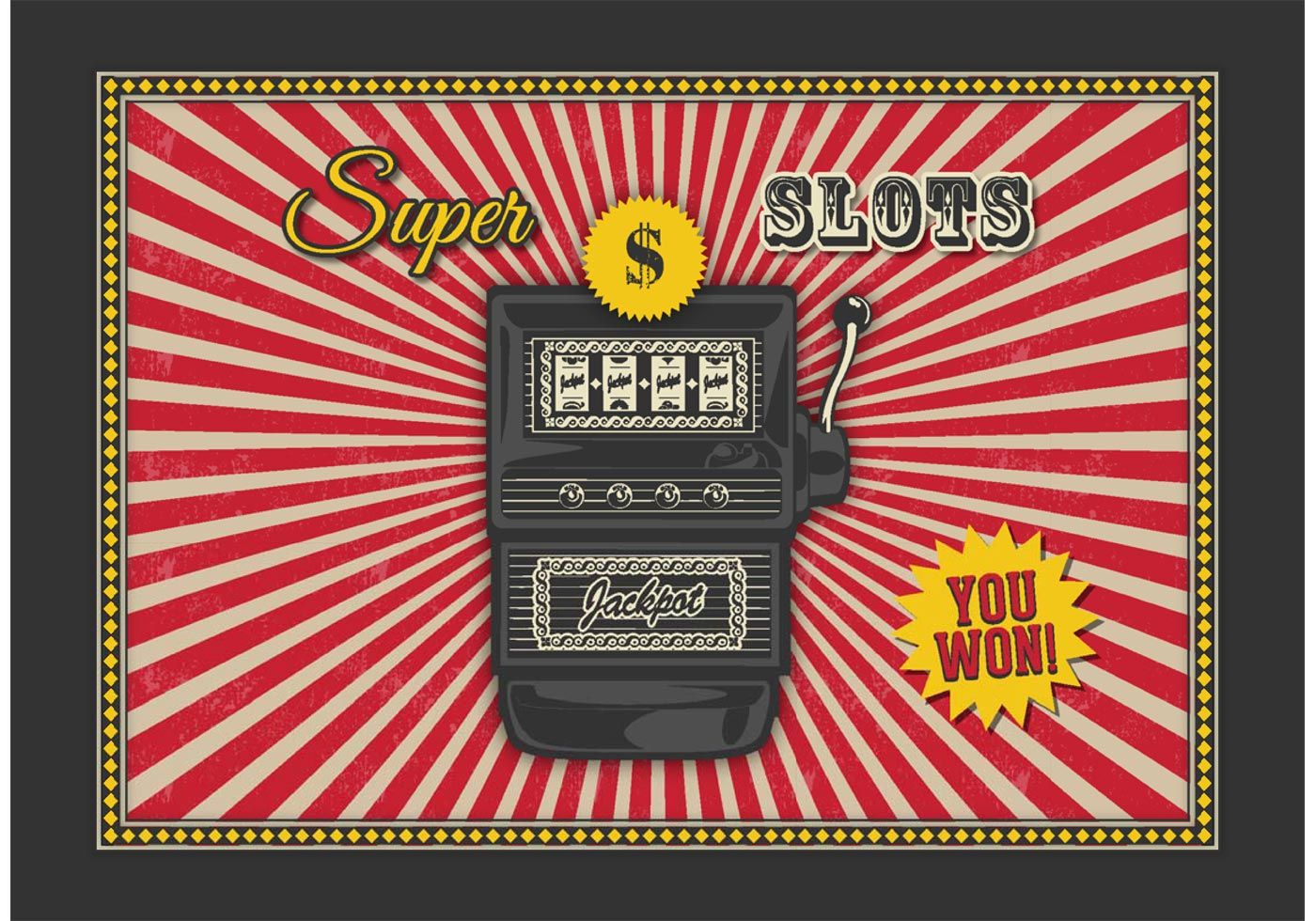 Retro Slot Machine Vector Background Download Free