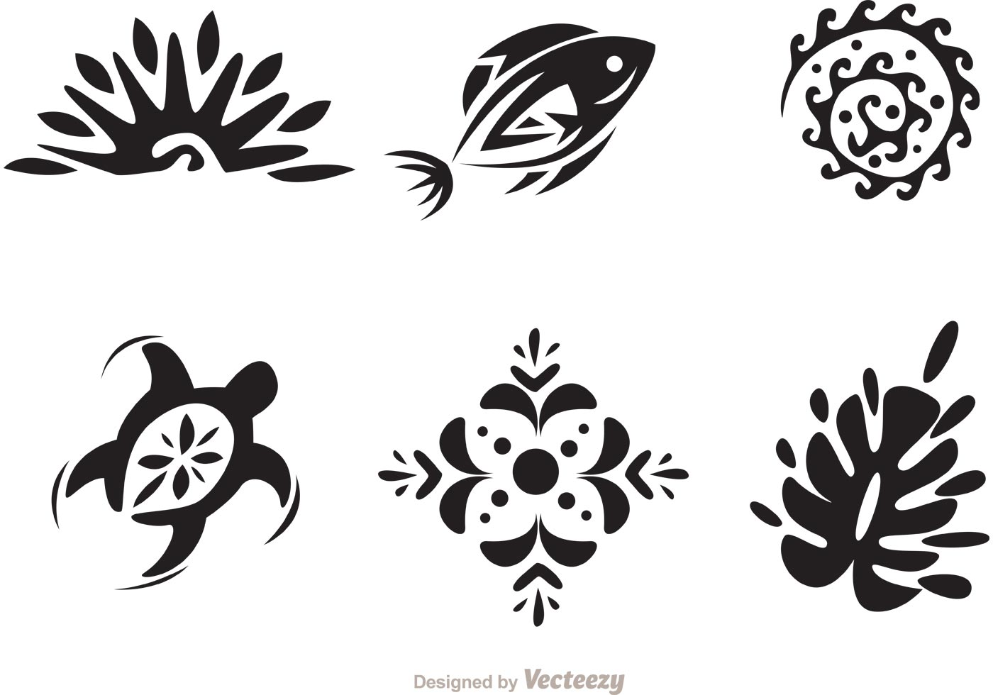 Hawaii Tribal Vectors In Black And White