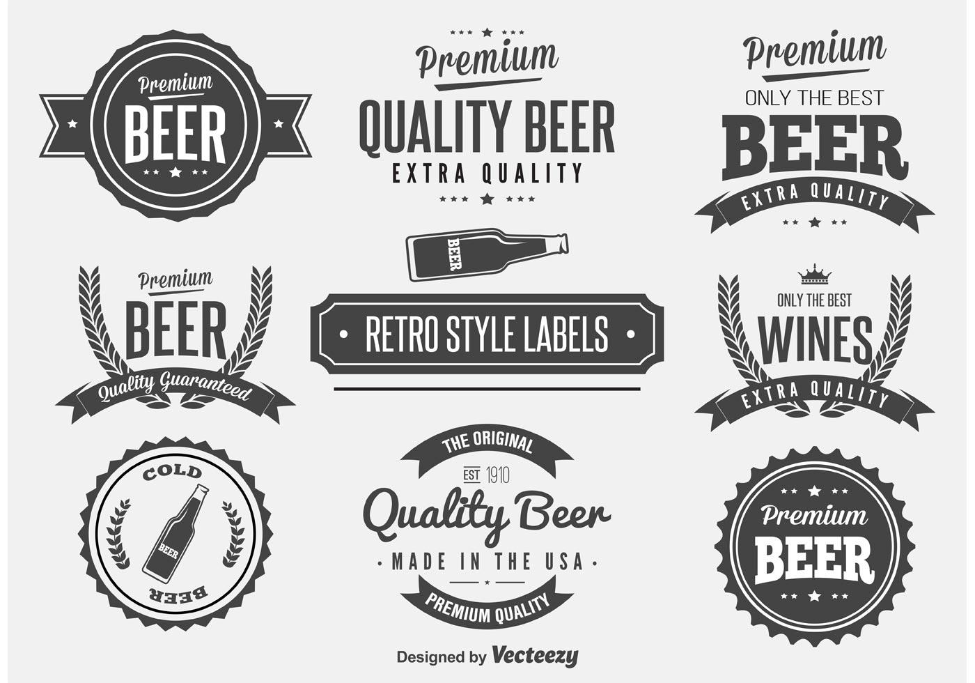 Vetores De Etiqueta De Cerveja Retro