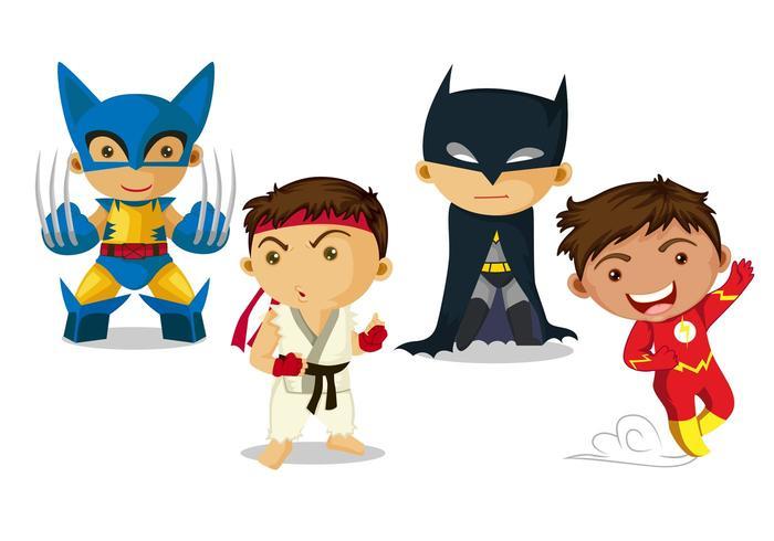 Super Hero Kid Vectors Download Free Vector Art Stock