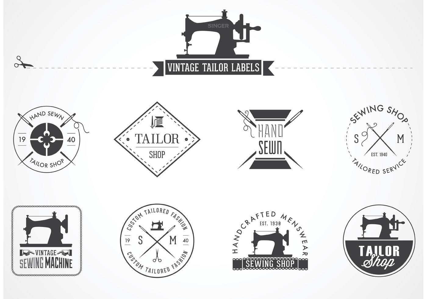 Vintage Tailor Vector Labels