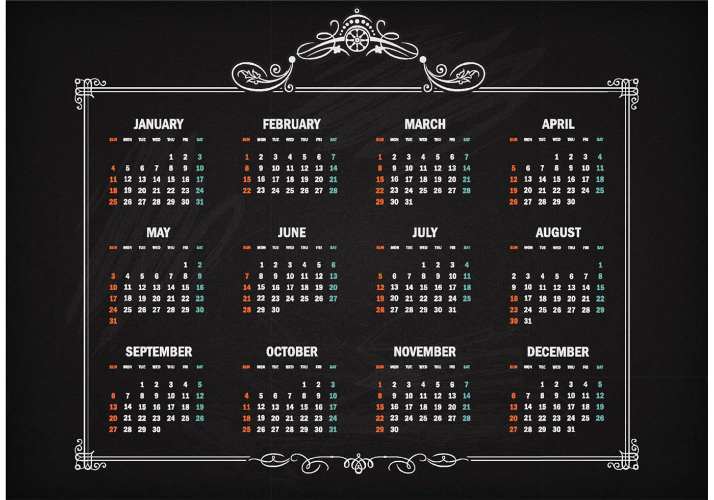 Free Vector Retro Calendar 2015 On Blackboard Download Free Vector Art Stock Graphics Amp Images