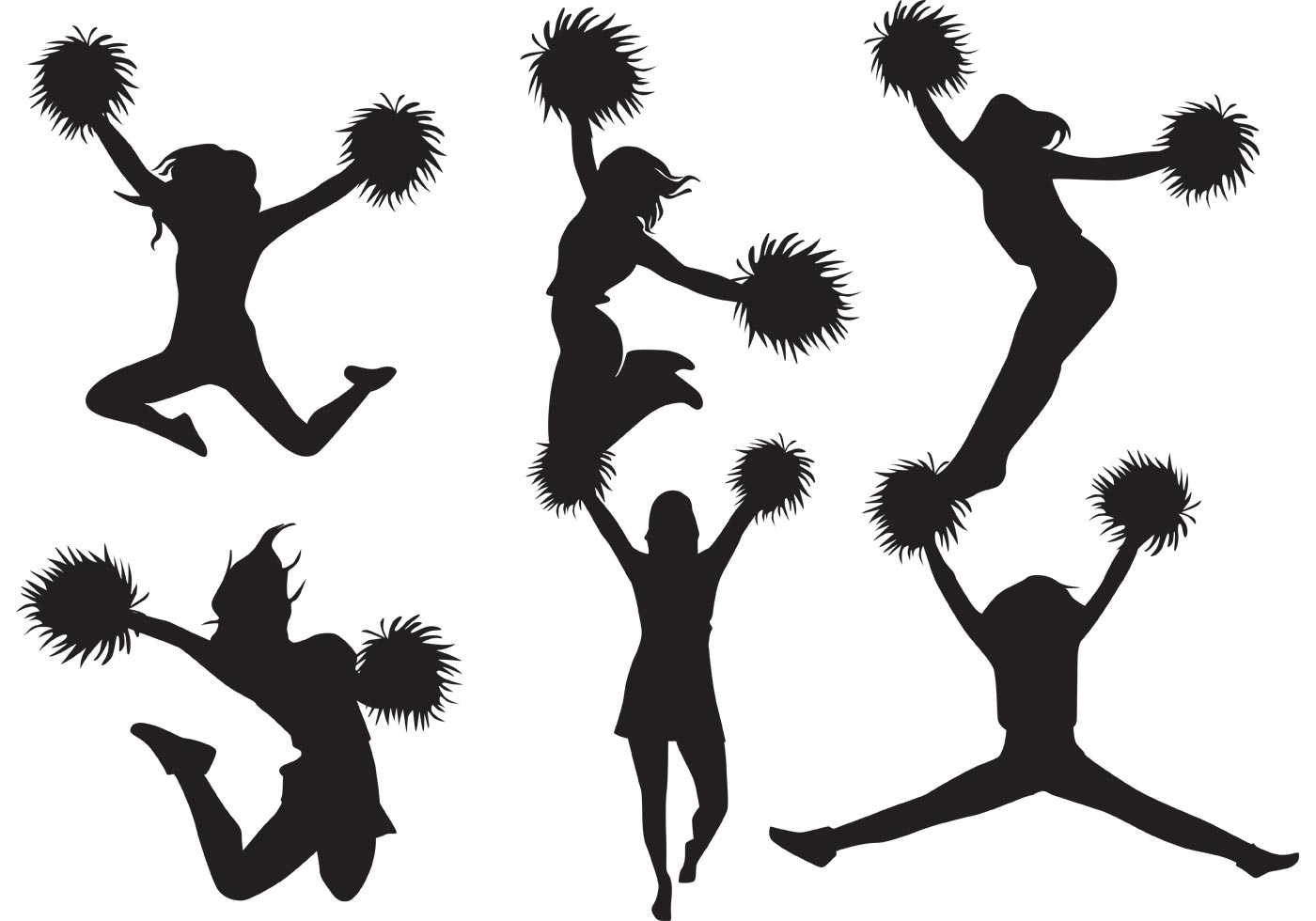 Cheerleader Silhouette Vector Pack