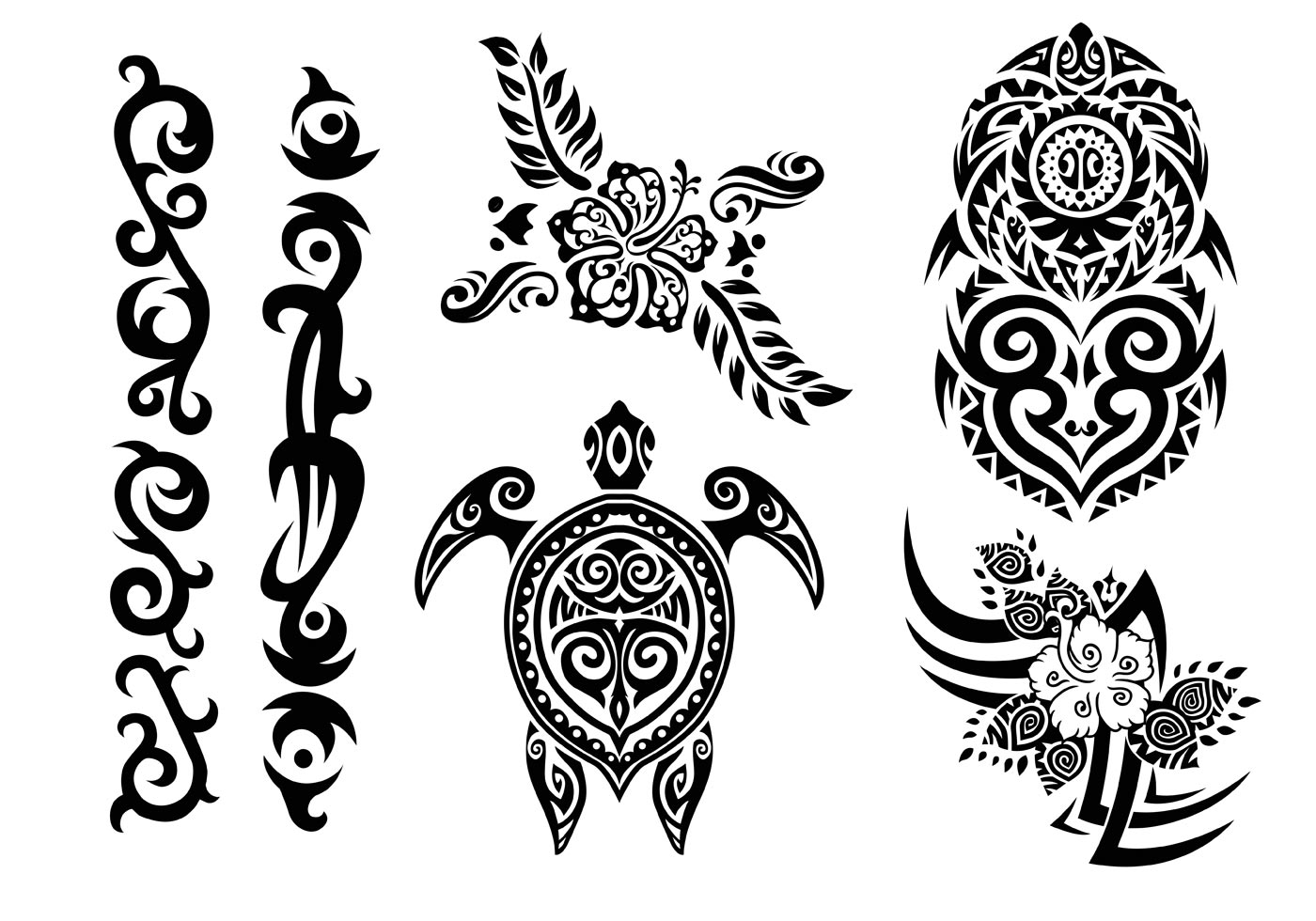 Hawaii Tribal Set In Black And White