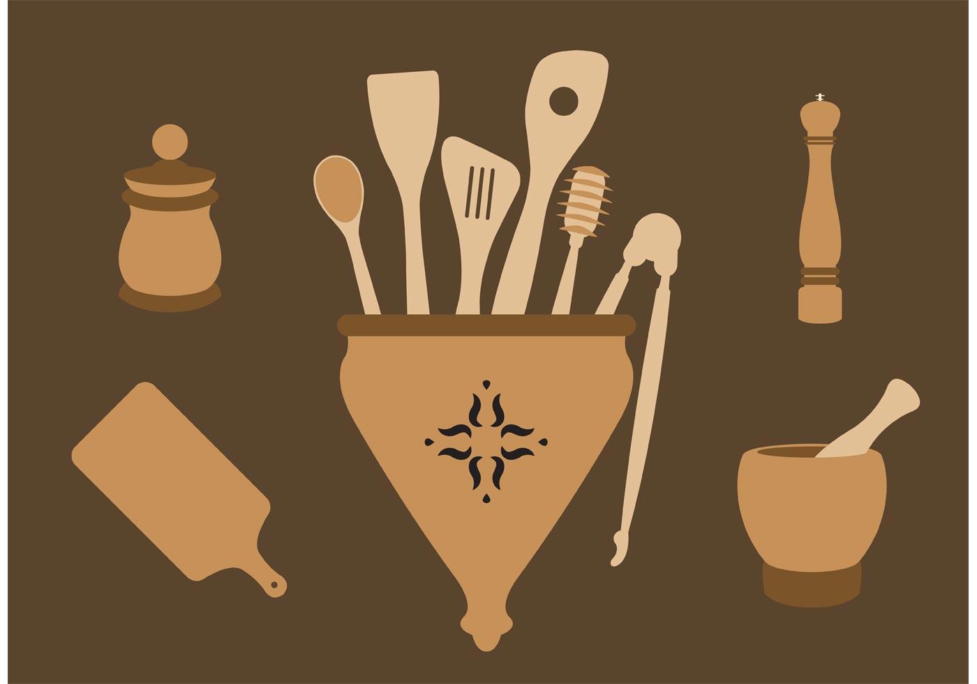 Classic Wooden Spoons Download Free Vector Art Stock