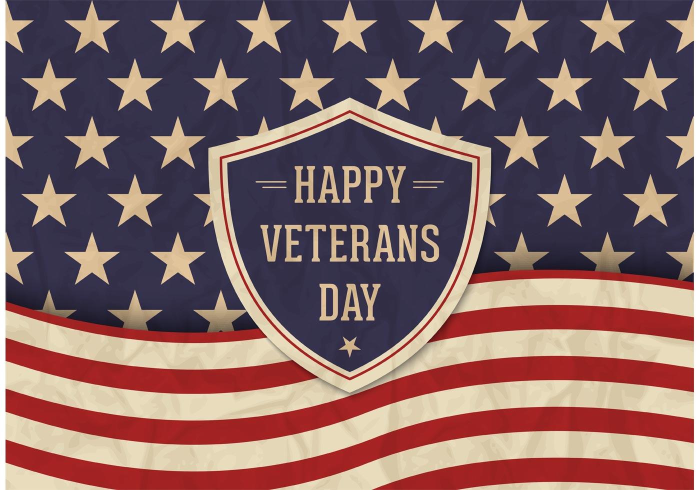 Free Veterans Day Vector Retro Poster