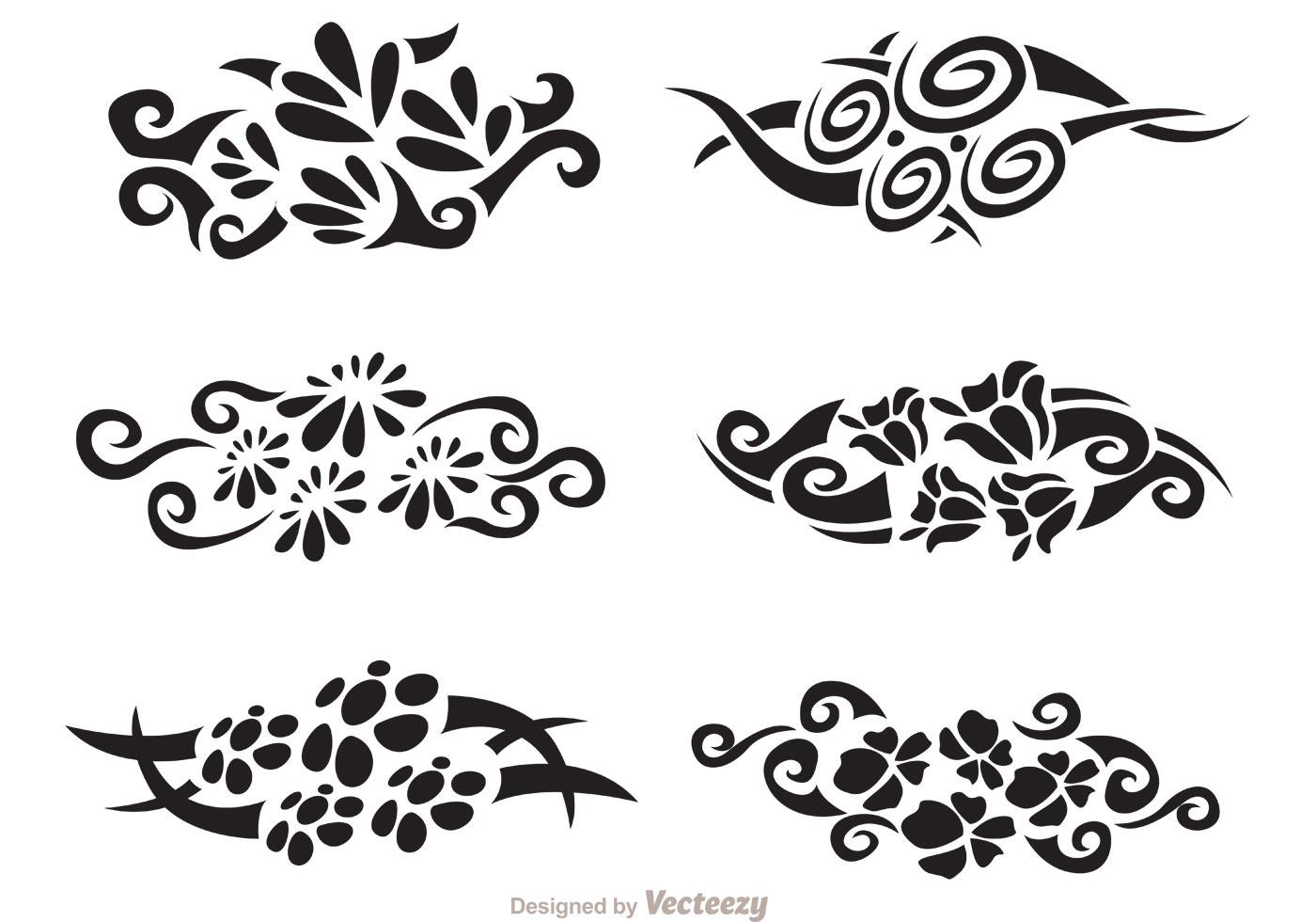Floral Hawaiian Tribal Vector Pack