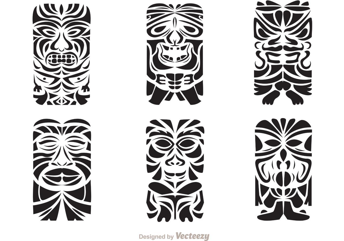 Tiki Totem Hawaiian Tribal Vectors
