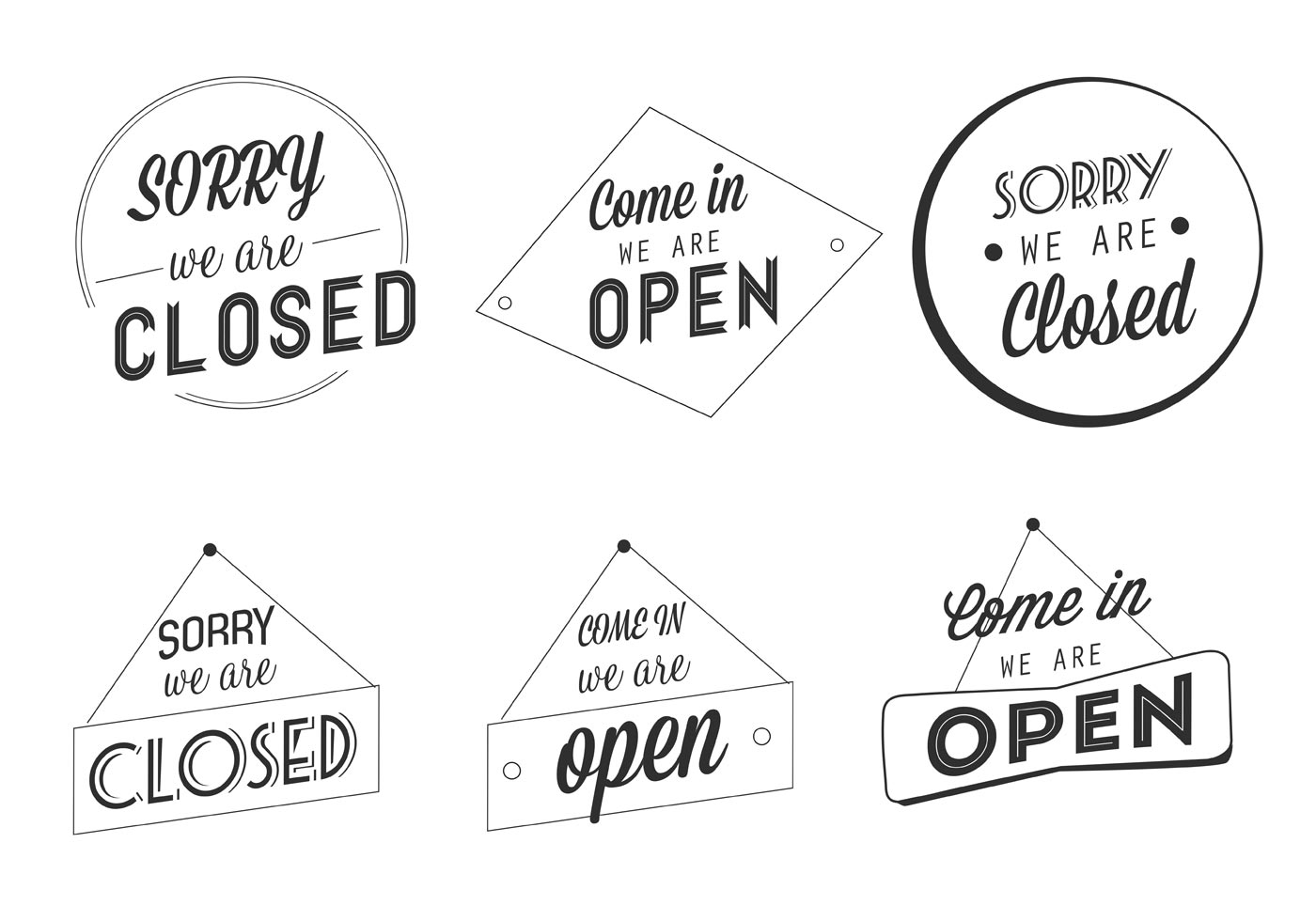 Free Vector Open And Closed Business Labels