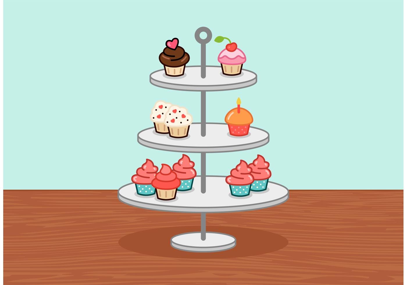 Little Cupcake Stand Vector Download Free Vector Art