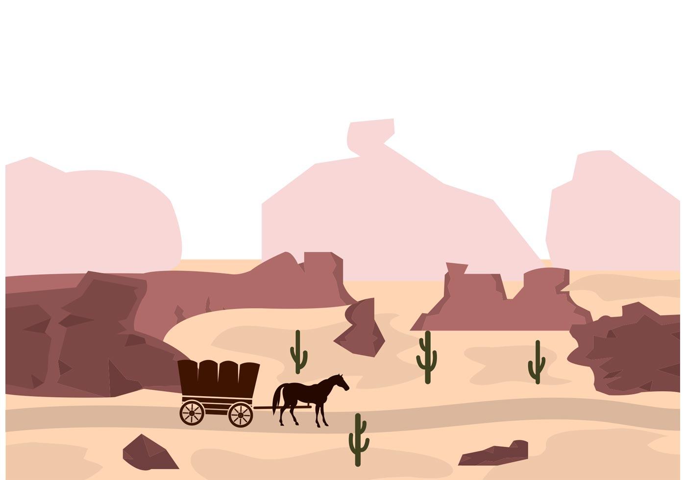 Covered Wagon Horses Silhouette
