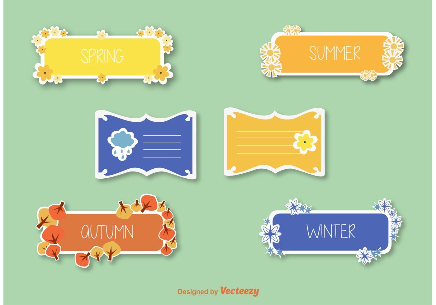 Seasons Stickers Amp Label Vectors