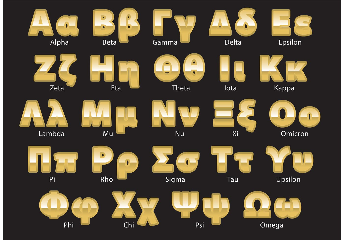 Greek Letters Free Vector Art