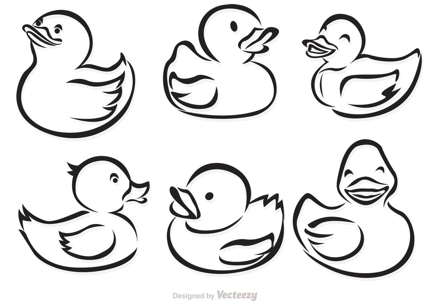 Rubber Duck Outline Vectors