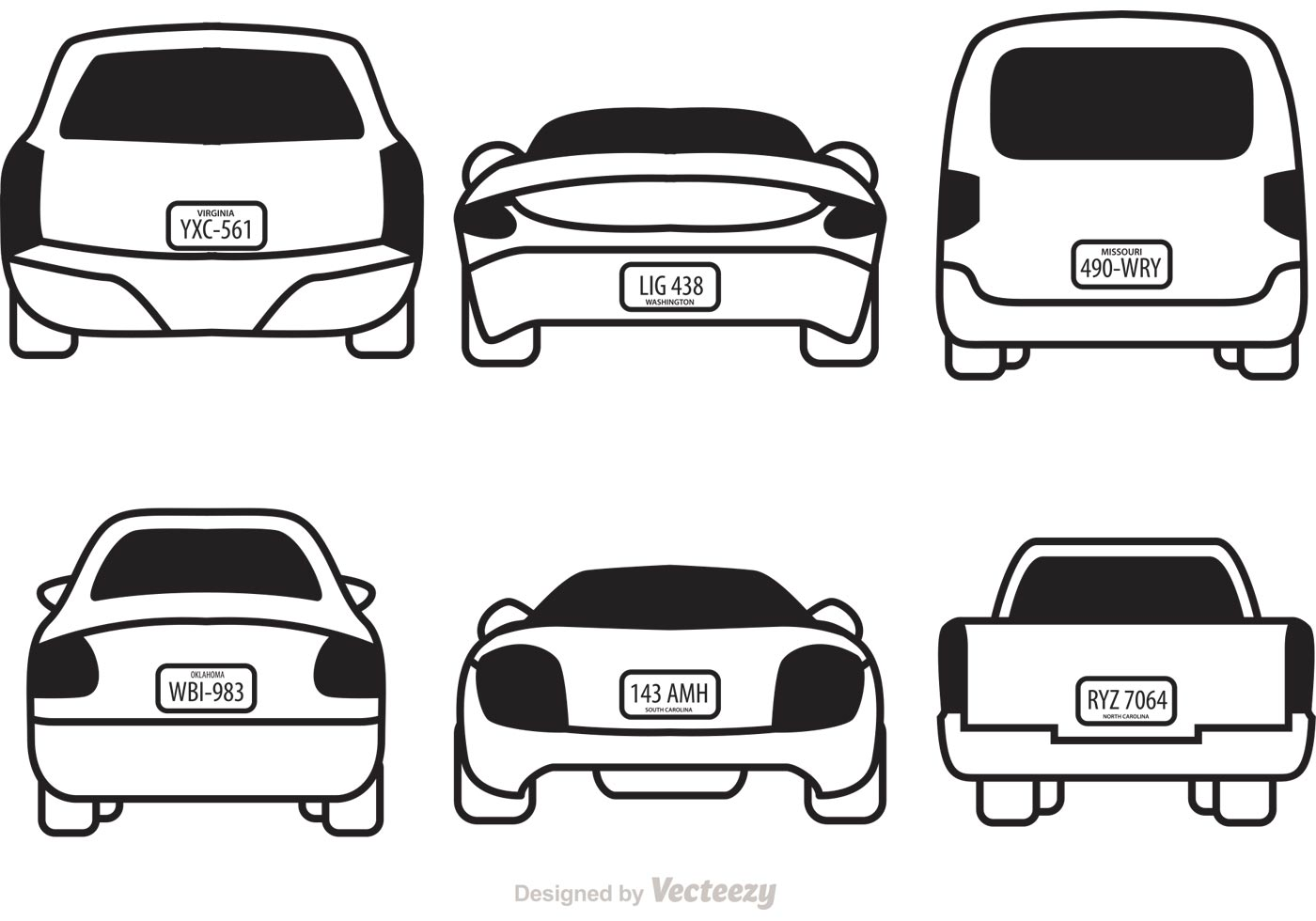 Cars With License Plates Vectors