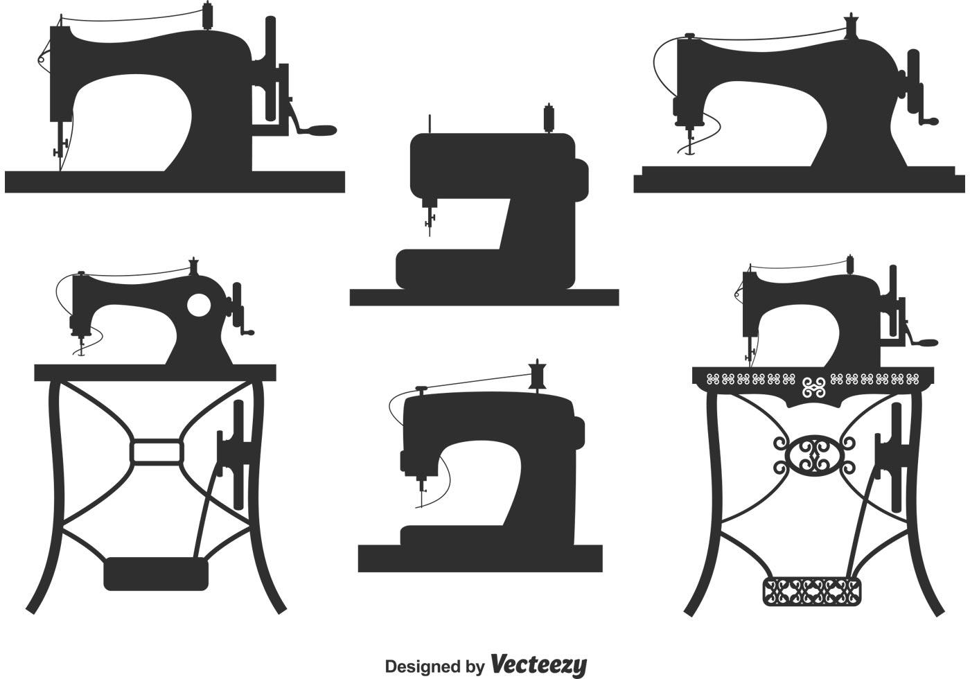 Colecao De Vintage Maquina De Costura Vetores